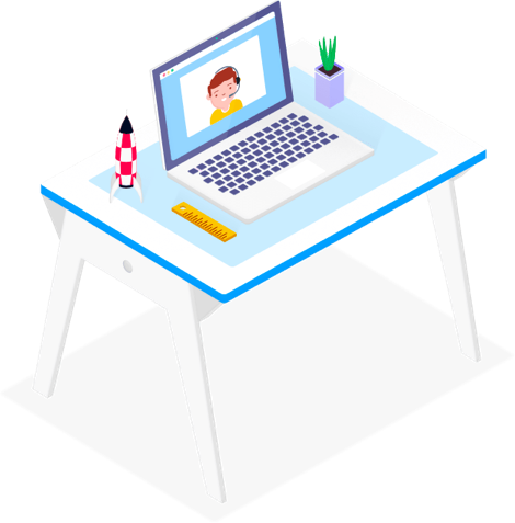 illustration of desk with laptop and image of man with headset